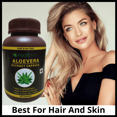 Best For Hair And Skin, Pure Aloevera Extract Capsules