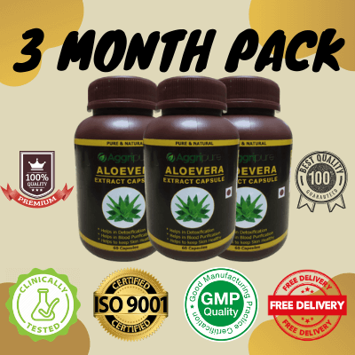 3 Month Pack aloevera, Aloevera Extract Capsules
