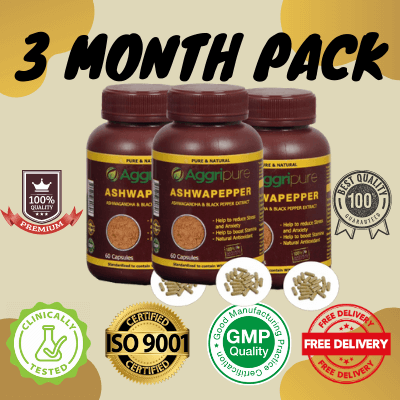 3 Month Pack ashwapepper, Ashwagandha Extract Capsules