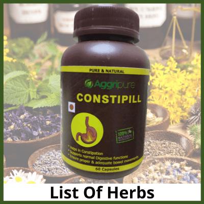 Constipill Ingredients, Constipation Relief Herbal Supplement