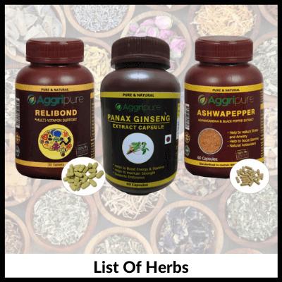 List Of Herbs, Man Supplements Kit For Endurance